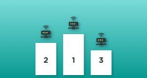 Podie med rangering af bredbånd via kabel-TV stikket fra nr. 1 til 3