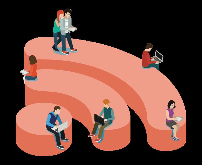 WiFi ikon i 3D omgivet af mennesker
