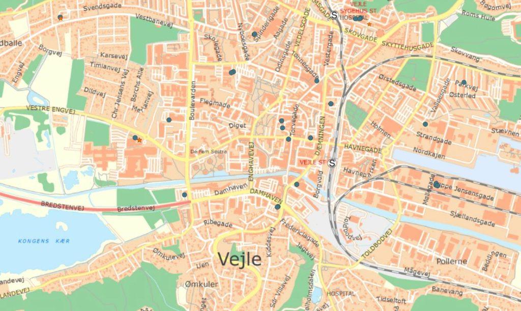 Mastadatabasen kort over Vejle med nuværende og kommende mastepositioner
