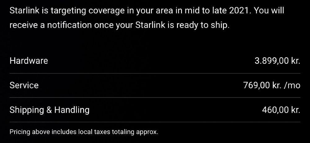 Starlink bestillingsside