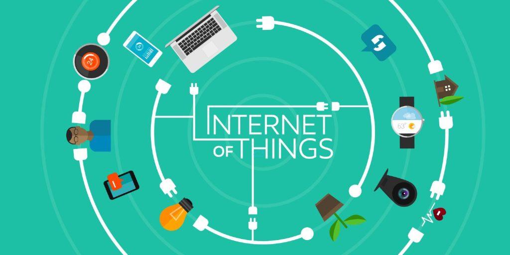 Elektronikprodukter i et kredsløb, alle forbundet til internettet