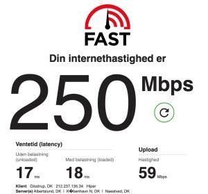 Fast.com Netflix hastighedstest
