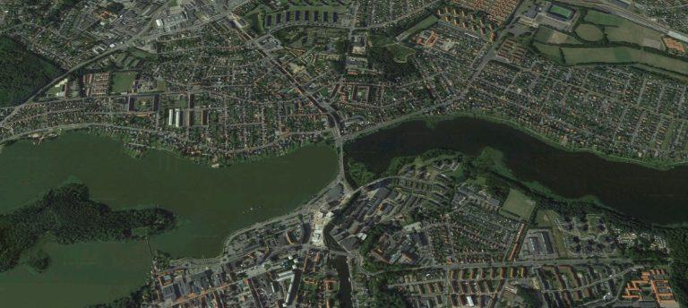 Kort over Silkeborg med Gudenåen i midten