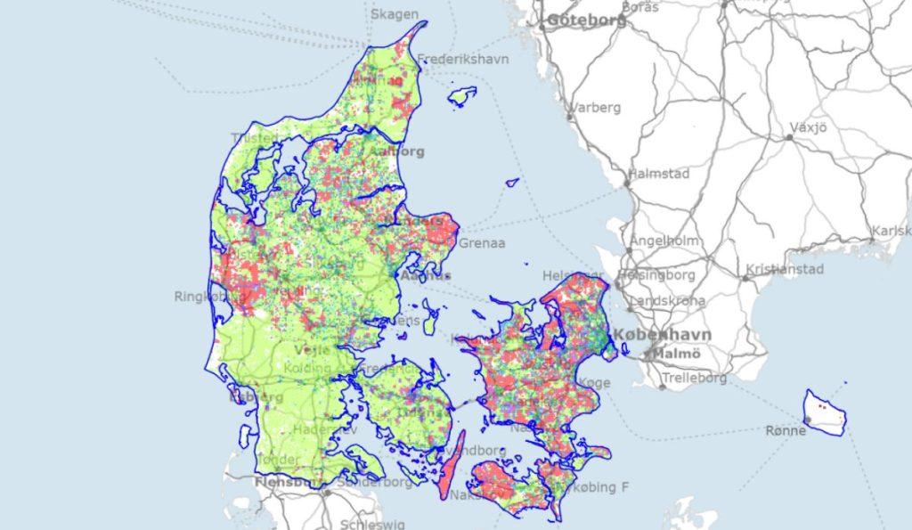 Dækningskort over fibernettet i Danmark