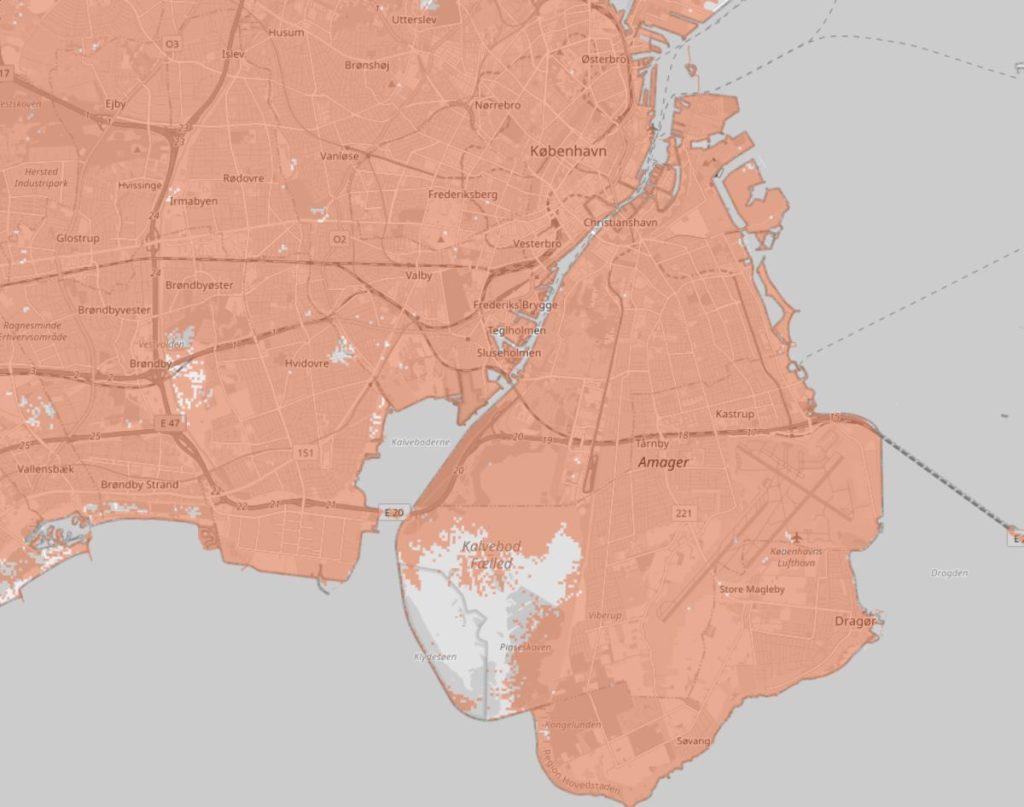 Dækningskort for Københavns Kommune, TDC mobilt bredbånd