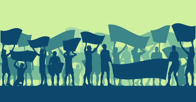 Silhuetter af mennesker under protestaktion