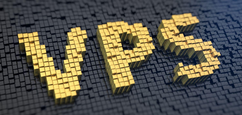 VPS skrevet i guld kvadrater på sort baggrund